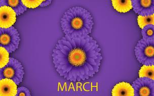 цветы, открытка, 8 марта, весна, счастливый женский день, фиолетовый фон, хризантемы