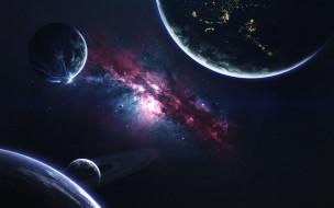 Космос, Туманность, Звезда, Планеты, Молнии, Planets, Кольцо