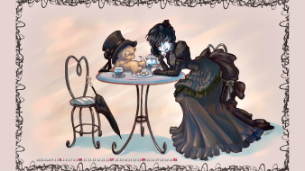 девушка, стол, стул, медведь, зонт