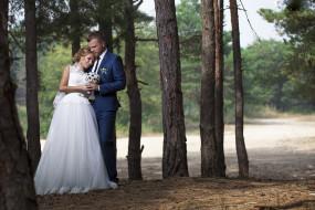 лес, фото, букет, невеста, платье