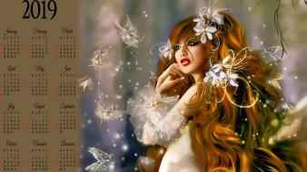 девушка, цветы, бабочка
