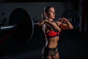 брюнетка, спортзал, женщины, штанга, тяжелая атлетика