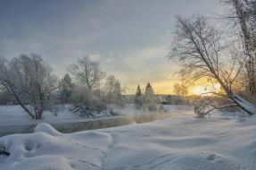 зима, река, снег