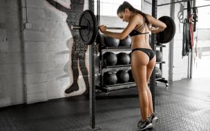 спорт, body building, девушка, фон, взгляд