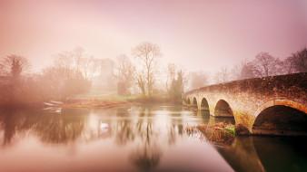 река, туман, мост
