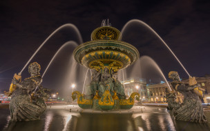 фонтан, фонари, ночь, огни, Франция, Париж, город, дома
