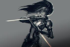 униформа, фон, девушка, меч