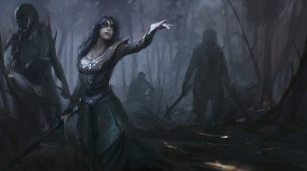 фон, платье, меч, девушка