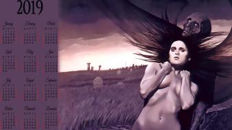 памятник, кладбище, девушка, нежить