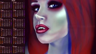 клыки, лицо, девушка, вампир