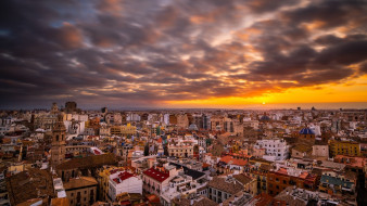 города, валенсия , испании, город, валенсия, закат