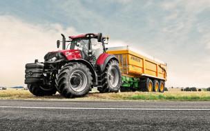 трактор с прицепом, поле, Case IH, трактора, сельское хозяйство, уборка урожая, новый трактор
