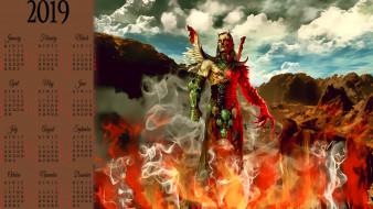 облако, существо, крылья, гора, пламя, огонь