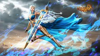 снежинки, девушка, меч, тучи