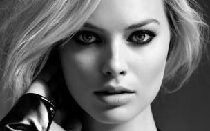 лицо, черно-белая, блондинка