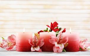 бутоны, розовые, свечи