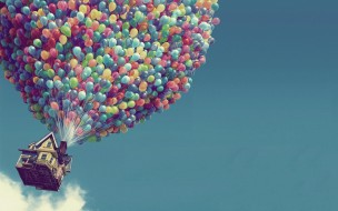 небо, полет, дом, шарики
