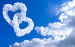 сердечки, небо, облака
