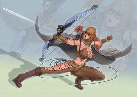 девушка, униформа, лук, стрелы, маска