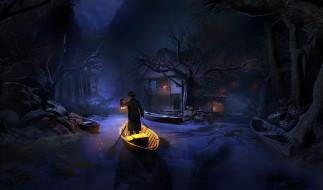 лодка, мужчина, свет, фон, дом, река
