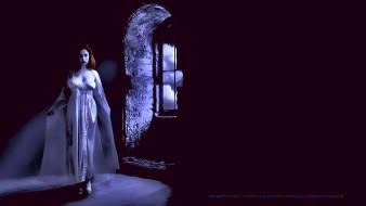 ночь, темнота, помещение, девушка, окно