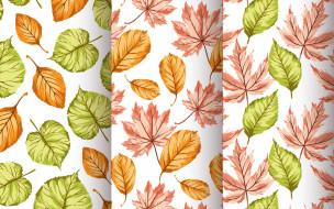 Seamless, текстура, листочки, autumn, pattern, фон