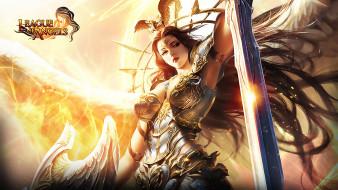девушка, ангел, крылья, меч