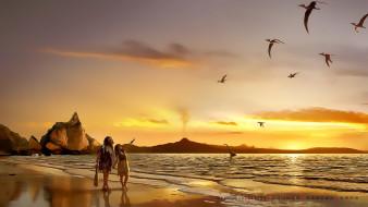берег, водоем, мужчина, динозавр, женщина
