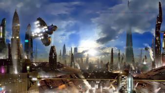 планета, звездолет, сооружение, здание