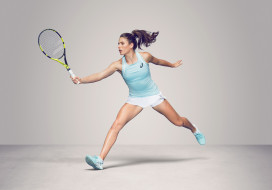 ракетка, фон, Johanna Konta, церковь, теннис, взгляд, девушка