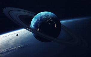 Планета, Космос, Кольцо, Свет