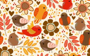Pattern, птички, текстура, фон