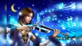 ноты, скрипка, человек