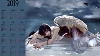 ангел, перо, крылья, птица, девушка
