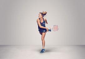 теннис, Alizе Cornet, девушка, ракетка, фон, взгляд