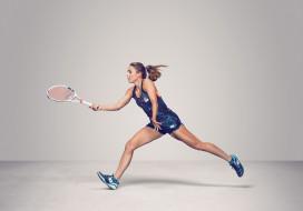 Alizе Cornet, теннис, ракетка, фон, девушка, взгляд
