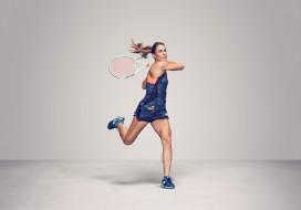 Alizе Cornet, теннис, ракетка, фон, взгляд, девушка