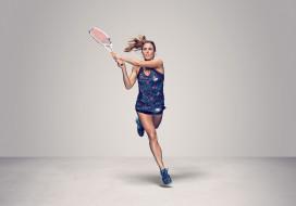 Alizе Cornet, девушка, теннис, ракетка, фон, взгляд