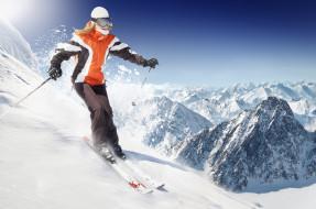 спорт, лыжный спорт, девушка, взгляд, фон, снег, горы