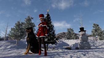 девушка, собака, взгляд, фон, снеговик
