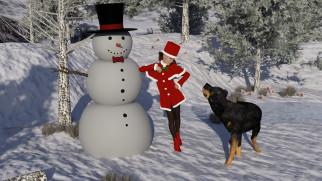 снеговик, собака, фон, взгляд, девушка