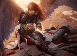 девушка, мужчина, латы, крылья