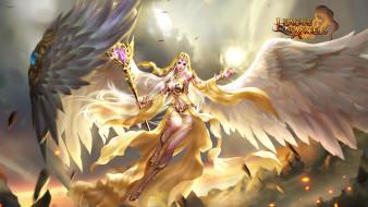крылья, посох, девушка, ангел