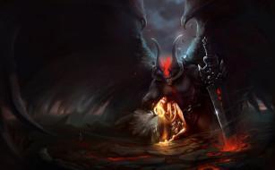 фон, демон, девушка, ангел