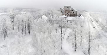 снег, город, зима, turku