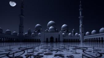 города, - мечети,  медресе, луна, ночь, мечеть