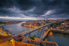Porto, Portugal, Порто, Португалия, закат, город, сумерки, мост, дома