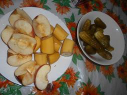 яблоки, бананы, еда, огурцы