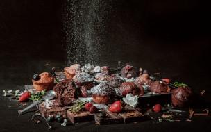 ягоды, выпечка, кексы, сахарная пудра