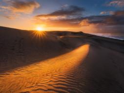 лучи, свет, облака, солнце, дюны, барханы, закат, небо, песок, пустыня